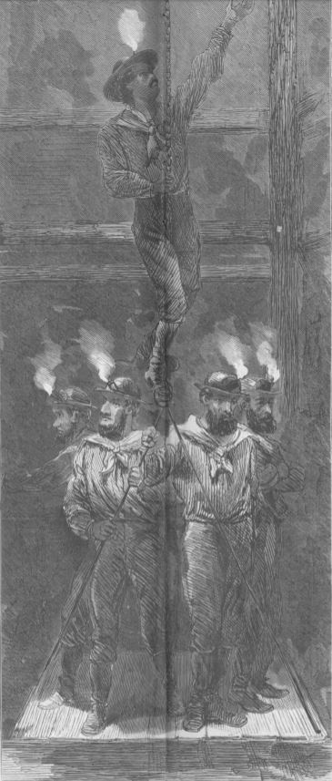 Miners Descending the Shaft
