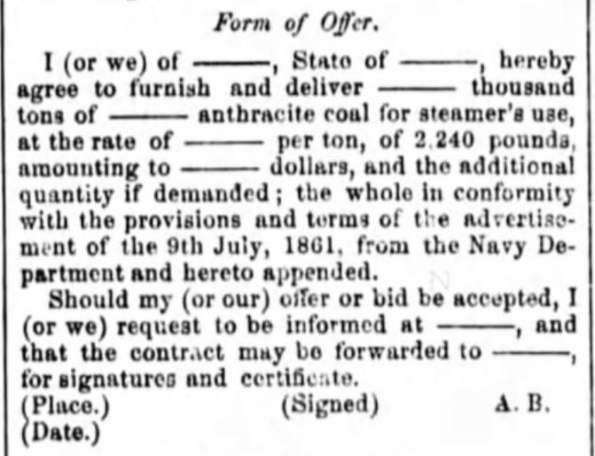 Navy Coal Contract - 1861- 1