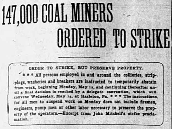 Coal strike headlines