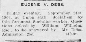 Eugene Debs speech ad
