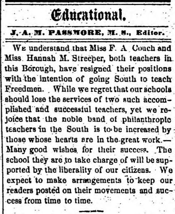 Teacher Resignations - Freedmen's Relief Association