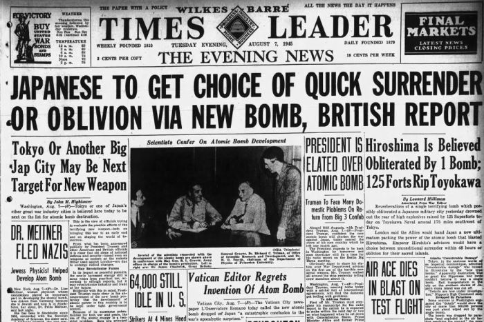 Times-Leader Atomic Bomb Headlines