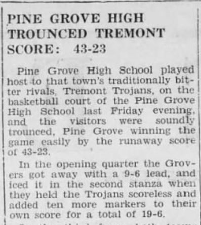 Pine Grove - Tremont Baskeball 1944