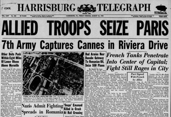 Harrisburg Telegraph - Paris Liberated
