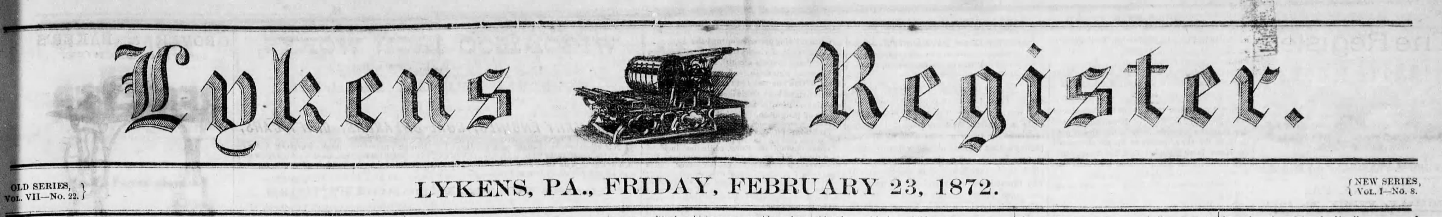 Lykens Register Headline February 1872