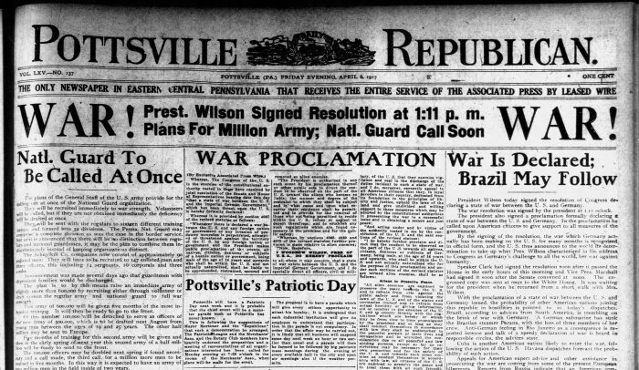 World War I Cover Pottsville Republican - April 1917