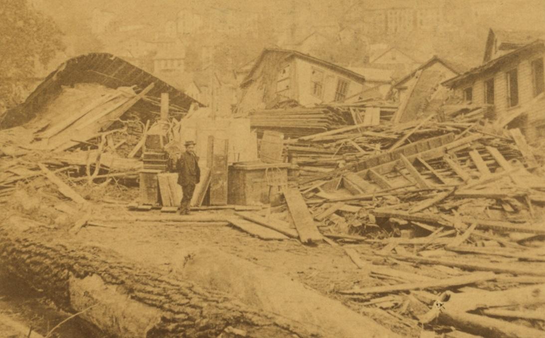 Damaged Frame Homes Johnstown Flood