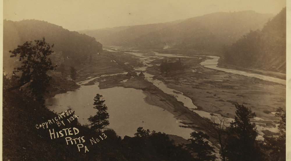 View up Conemaugh Valley Johnstown Flood